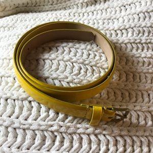 J. Crew yellow patent leather skinny belt sz. S.